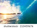 ocean wave at sunrise   Shutterstock . vector #213459676