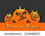 three halloween pumpkins on a... | Shutterstock .eps vector #213468052