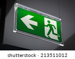 emergency exit sign above a... | Shutterstock . vector #213511012