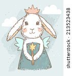 Stock vector cute fairy princess rabbit with magic wand wings and crown vector illustration 213523438