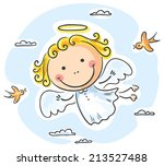 Cute Angel Flying With Two Birds