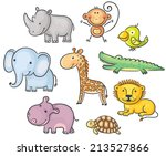 set of cartoon african animals | Shutterstock .eps vector #213527866