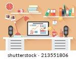 home office desk   flat design  ... | Shutterstock .eps vector #213551806