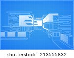 abstract 3d render of building... | Shutterstock .eps vector #213555832