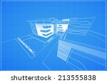 abstract 3d render of building... | Shutterstock .eps vector #213555838