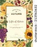 Autumn Harvest. Vector Vintage...