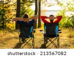 man and woman resting on the... | Shutterstock . vector #213567082