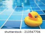Yellow Duck In The Swimming Pool