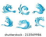 blue water waves symbols... | Shutterstock .eps vector #213569986