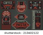 vector set of hand drawn label... | Shutterstock .eps vector #213602122