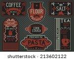 vector set of hand drawn label...   Shutterstock .eps vector #213602122