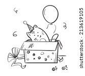 funny kitten in box  vector ... | Shutterstock .eps vector #213619105