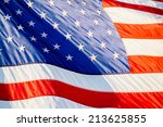 flapping usa flag.   | Shutterstock . vector #213625855
