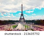 eiffel tower and fountains of... | Shutterstock . vector #213635752