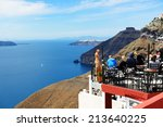fira  greece   may 17  the view ... | Shutterstock . vector #213640225