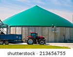 red tractor in front of a... | Shutterstock . vector #213656755