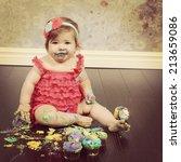 baby girl with cake   instagram ... | Shutterstock . vector #213659086