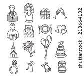 wedding drawn vector doodle... | Shutterstock .eps vector #213664132