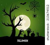 halloween design over green... | Shutterstock .eps vector #213674512