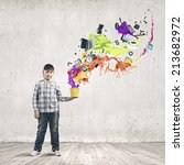 young boy splashing colorful... | Shutterstock . vector #213682972