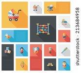 baby flat ui bakcground set | Shutterstock .eps vector #213684958