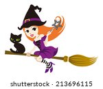 flying witch with black cat ... | Shutterstock .eps vector #213696115