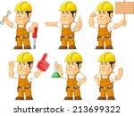 strong construction worker...   Shutterstock .eps vector #213699322