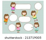cute girl with blank text... | Shutterstock .eps vector #213719005