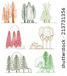 a set of tree silhouettes   for ...   Shutterstock .eps vector #213731356