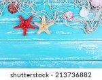 decor of seashells close up on... | Shutterstock . vector #213736882