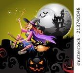 halloween witch flying in broom | Shutterstock .eps vector #213742048