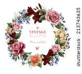wreath of roses  watercolor ... | Shutterstock . vector #213743635