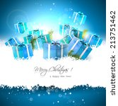 christmas background with gift... | Shutterstock .eps vector #213751462