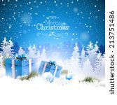 christmas gift boxes in the... | Shutterstock .eps vector #213751486