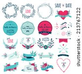 wedding romantic set with... | Shutterstock .eps vector #213767122