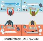 office worker activity on flat... | Shutterstock .eps vector #213767932