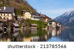the beautiful town of hallstatt ... | Shutterstock . vector #213785566