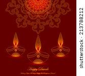 glowing diwali lamps design... | Shutterstock .eps vector #213788212