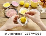 decorating a cake pop. | Shutterstock . vector #213794098