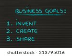 list of business goals to... | Shutterstock . vector #213795016