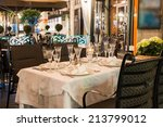 table setting in restaurant... | Shutterstock . vector #213799012