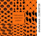 8 different halloween seamless... | Shutterstock .eps vector #213803728