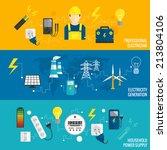 set of line banner energy... | Shutterstock . vector #213804106
