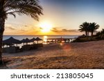 sunset on the beach | Shutterstock . vector #213805045
