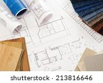 blueprints  wood material and... | Shutterstock . vector #213816646