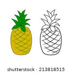 whole pineapple fruit yellow... | Shutterstock .eps vector #213818515