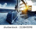 big excavator on new... | Shutterstock . vector #213845098