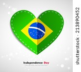 Independence Day. Love of country. Flag in the form of a paper heart. Use for brochures, printed materials, icons, logos, signs,  elements, etc. Flag of Brazil