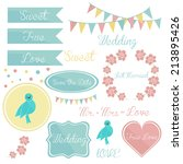cute wedding set of elements ... | Shutterstock .eps vector #213895426