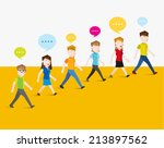people walking and gather... | Shutterstock .eps vector #213897562